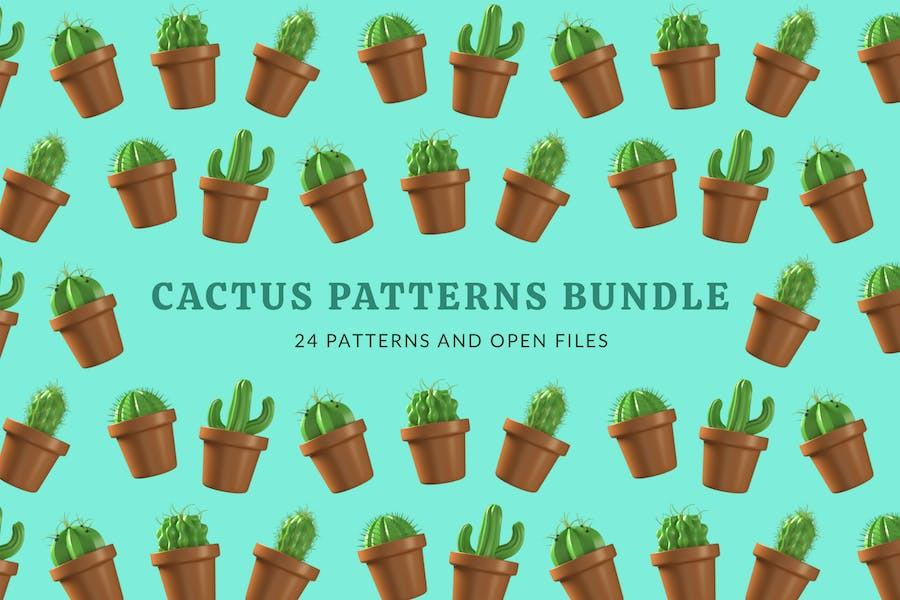Cactus Plant Patterns Bundle