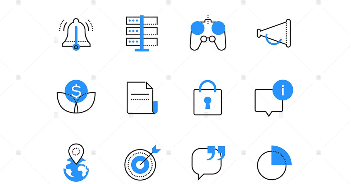 Download Advertising business and technology color icons by BoykoPictures