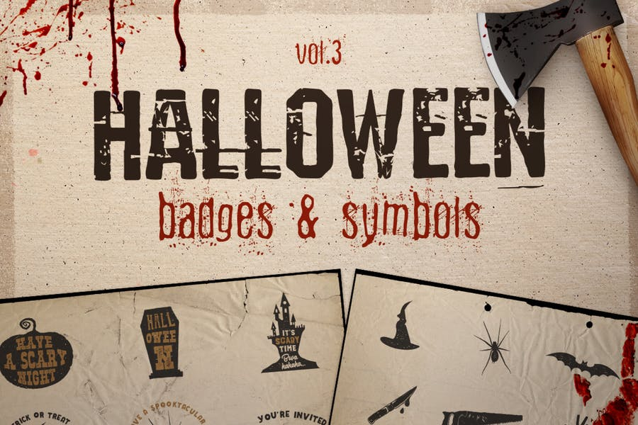 Halloween Badges / Retro Logos Set. Vol.3