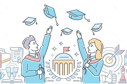 Abschlussstudenten - line design illustration