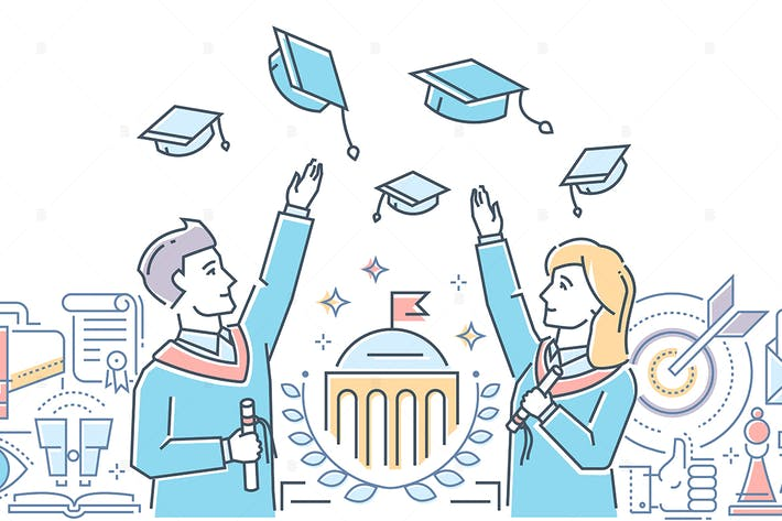 Thumbnail for Graduating students - line design illustration
