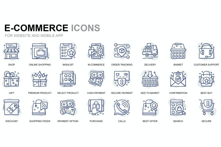 Thumbnail for E-Commerce and Shopping Thin Line Icons