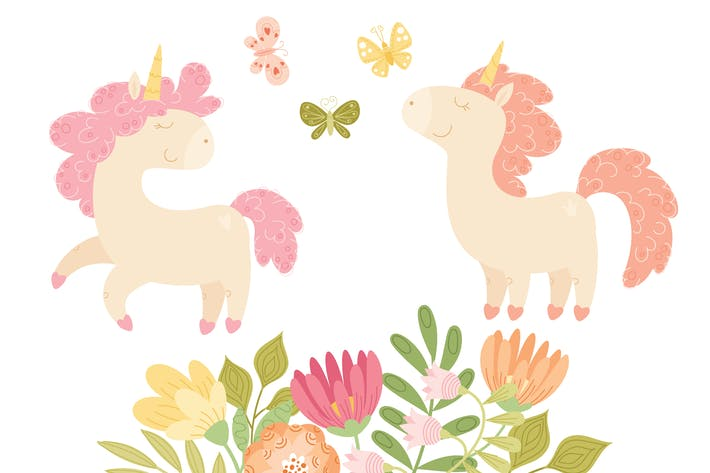 Thumbnail for Unicorns and Florals Vector Collection