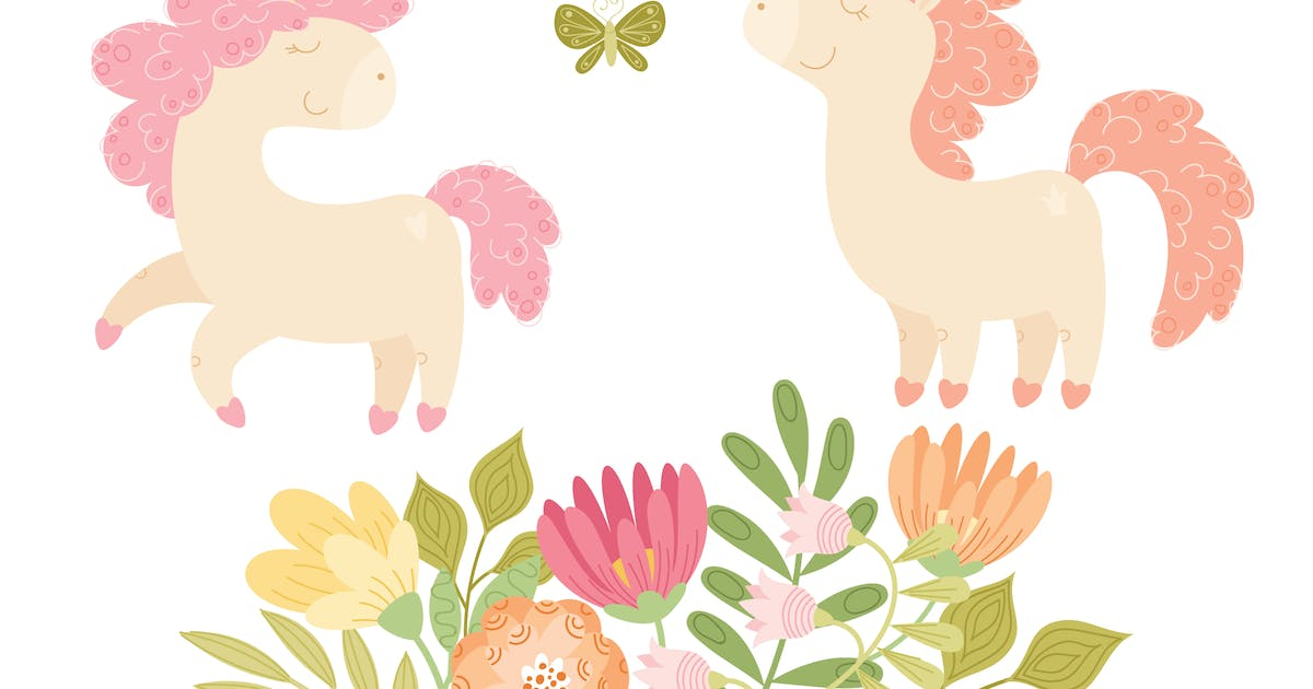 Download Unicorns and Florals Vector Collection by NataliyaDolotko