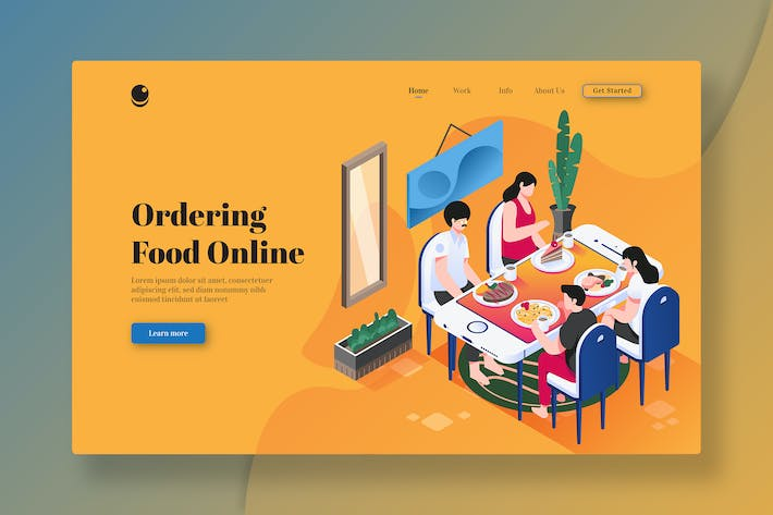 Thumbnail for Ordering Food Online - Isometric Landing Page