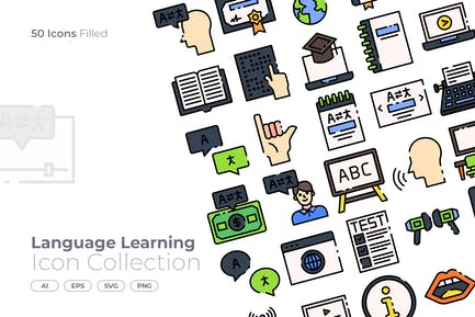 Language Learning Filled Icon