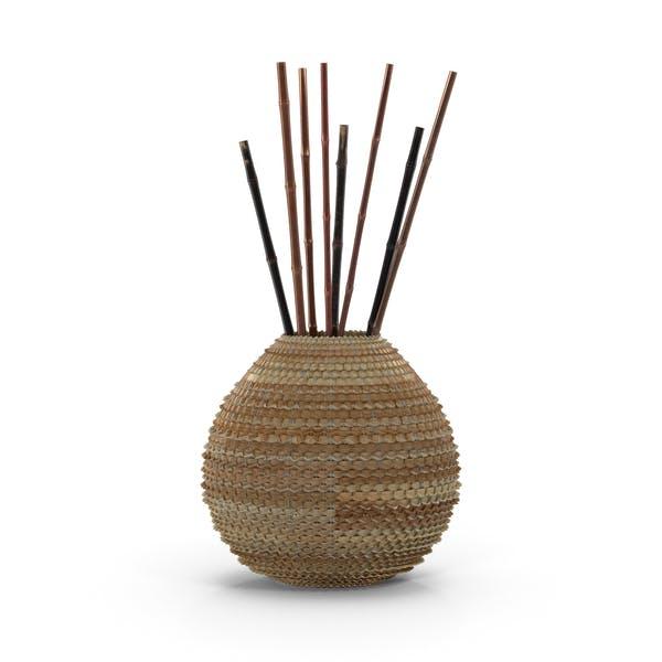 Плетеная ваза с палочками