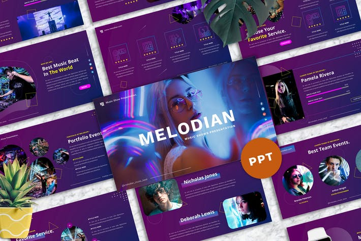 Thumbnail for Melodian - Music Industrial PowerPoint Template