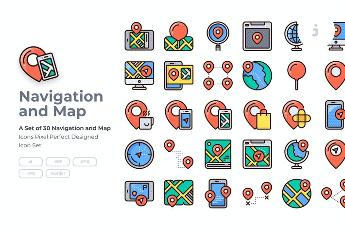 Thumbnail for 30 Navigation Icon set - Detailed Round line