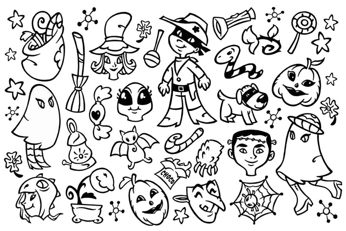 Thumbnail for 30 Halloween Doodle Clipart