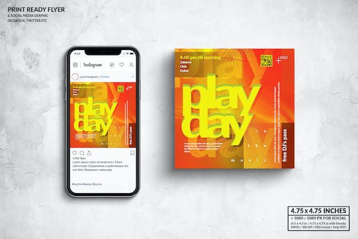 Thumbnail for PlayDay Music Square Флаер & Сообщение в социальных сетях