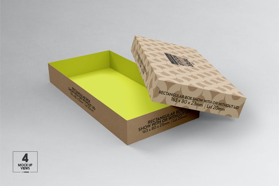 Small Rectangular paper Box & Lid Mockup