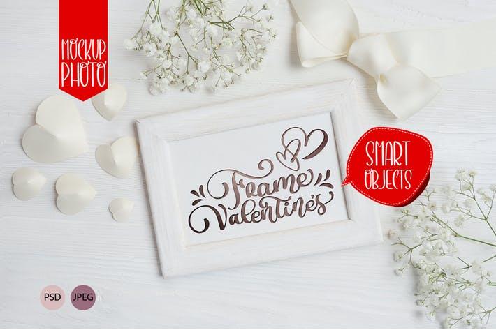 Thumbnail for Valentine`s wooden frame mock up