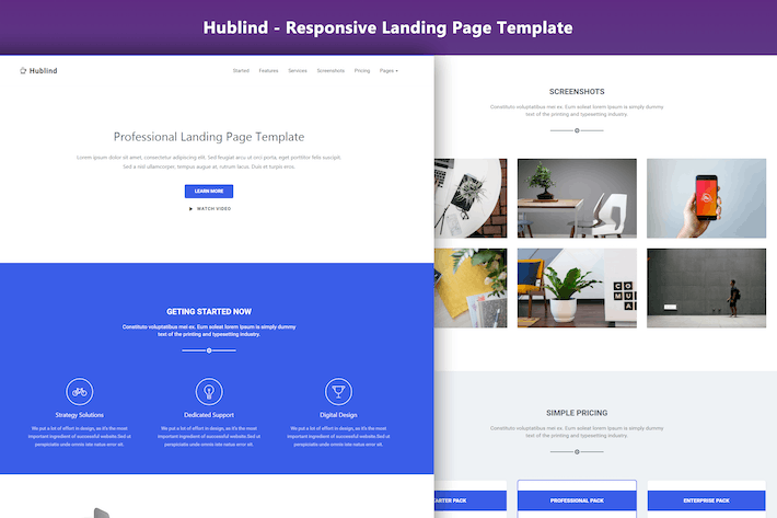 Hublind Responsive Landing Page Template By Coderthemes On Envato - Simple landing page template