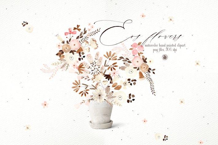 Eos Flowers - акварельный цветочный клипарт