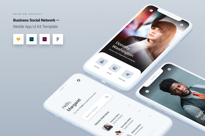 Cover Image For Business Social Network Mobile App UI Kit Template