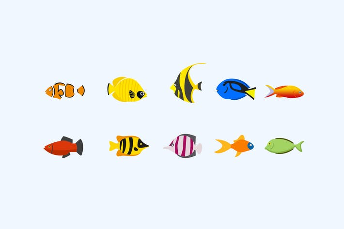 Thumbnail for 10 Tropical Fish Icons
