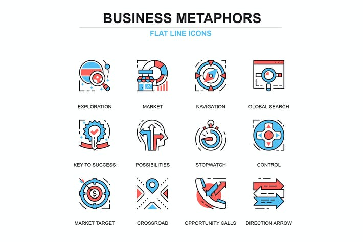 Cover Image For Thin line business elements icons set