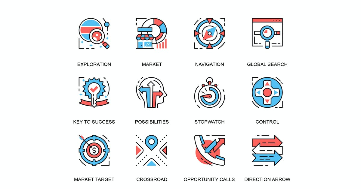 Download Thin line business elements icons set by alexdndz