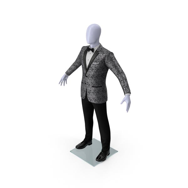 Grey Patterned Tuxedo Suit