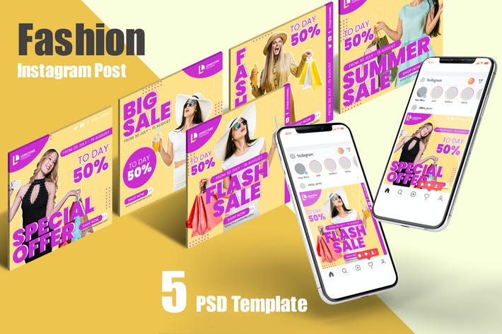 Fashion Instagram Posts PSD Template