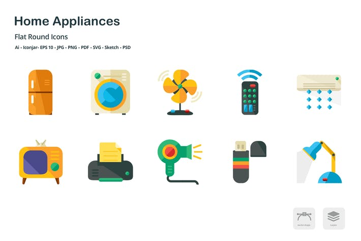 Thumbnail for Home Appliances Flat Colored Icons