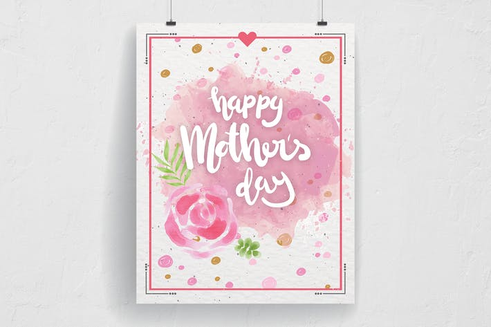 Thumbnail for Watercolor Flower Happy Mother's Day Flyer