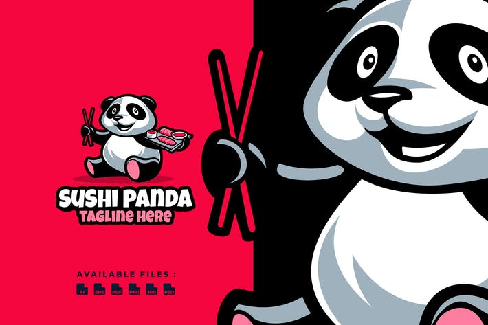 Thumbnail for Sushi Panda Cartoon Logo