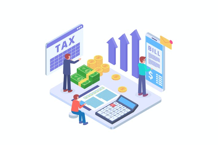 Thumbnail for Tax Payment Isometric Vector Illustration
