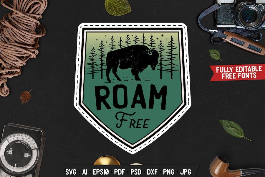 Camp Wild Badge, Vector Adventure Retro Graphic