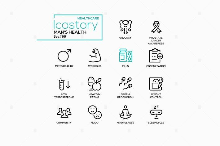 Man's health - line design style icons set