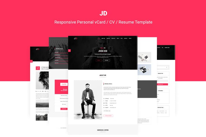 Thumbnail for JD | Personal vCard / CV / Resume Template