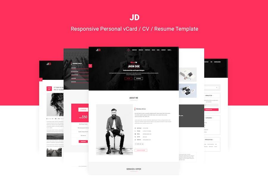 JD | Personal vCard / CV / Resume Template