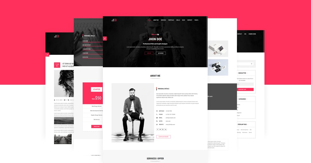 Download JD | Personal vCard / CV / Resume Template by themelooks
