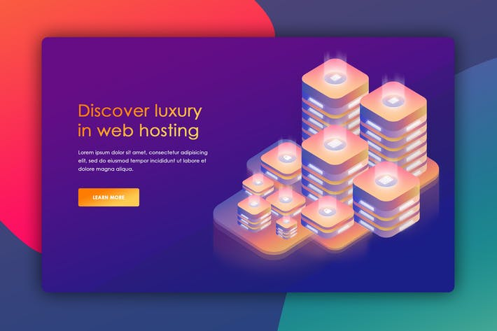 Cover Image For Isometric Website Header for Hosting Server