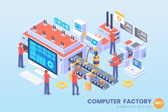 Thumbnail for Isometric Computer Factory Vector Concept