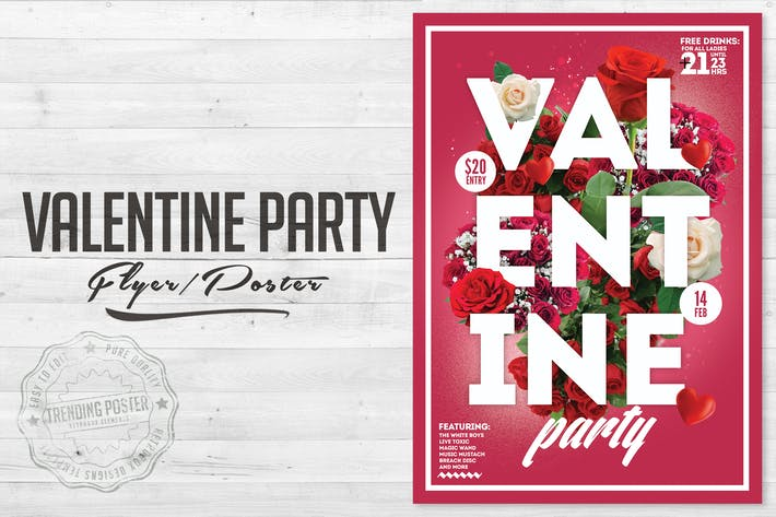 Thumbnail for Valentine Party Flyer Poster