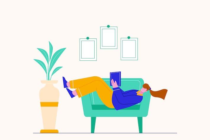 Reading Book Vector Illustration