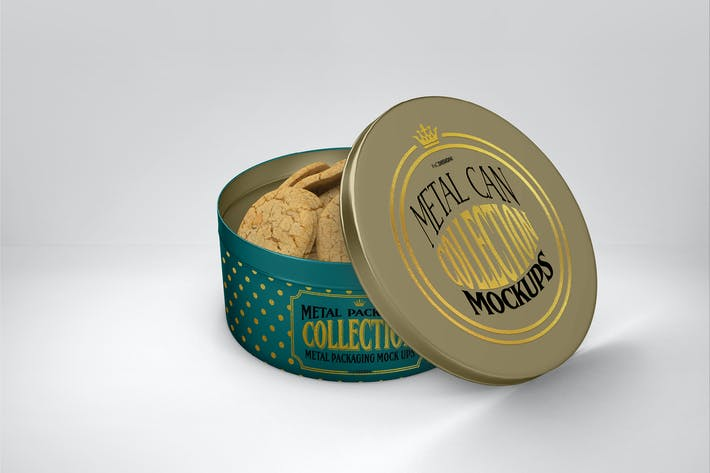 Metal Round Cookie Tin Packaging Mockup
