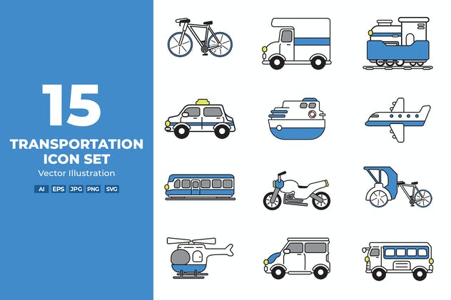 Transportation Icon Set Vector Illustration