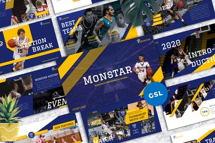 Monstar - Basketball Sport Googleslide Templates