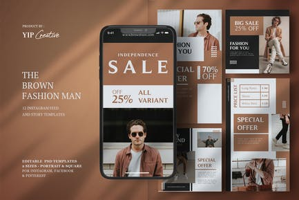Brown Fashion Man Instagram Feed and Story
