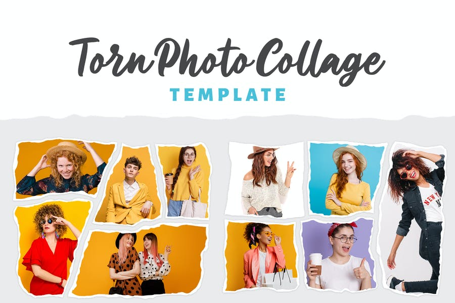 Torn Photo Collage Template
