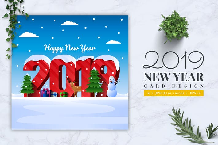 Thumbnail for 2019 New Year Card Design Vol. 01