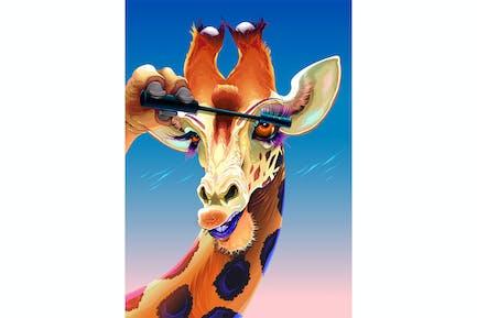 Giraffe is Applying the Mascara on her Eyelashes