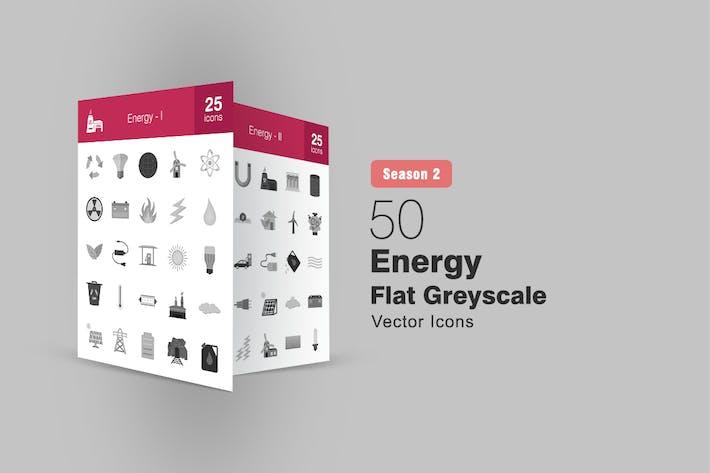 50 Energy Flat Greyscale Icons Season II