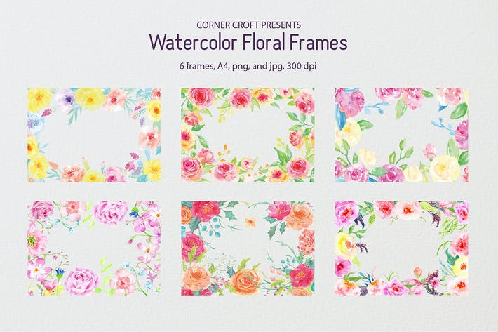 Thumbnail for Watercolor floral frame yellow and pink
