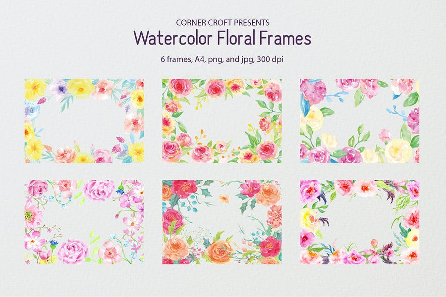 Watercolor floral frame yellow and pink
