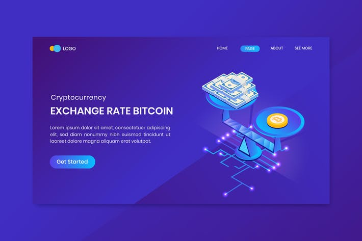Thumbnail for Bitcoin Exchange Rate Landing Page Template
