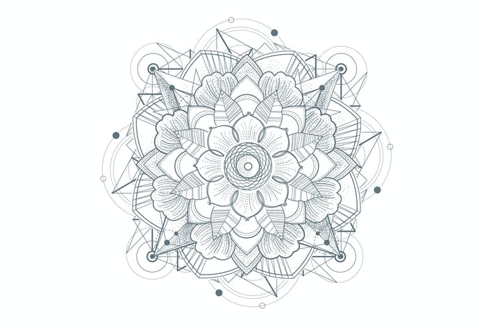 Thumbnail for Ornament round mandalas tattoo. Geometric circle e